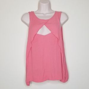 🛍Free People Coral-Pink Front Triangle Cut Tank